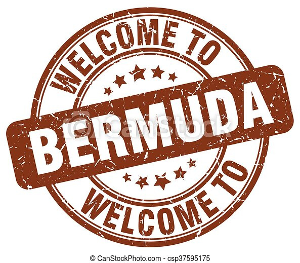 welcome to Bermuda brown round vintage stamp - csp37595175