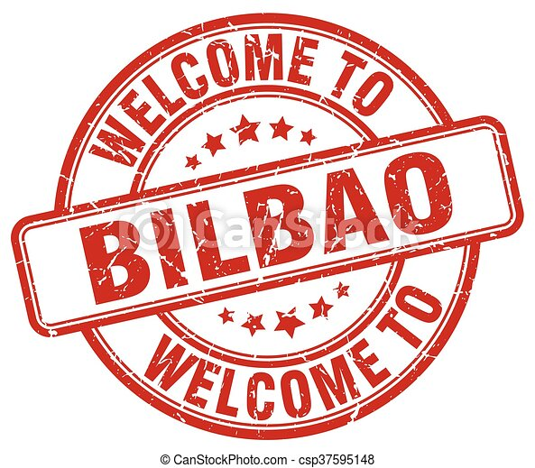 welcome to Bilbao red round vintage stamp - csp37595148