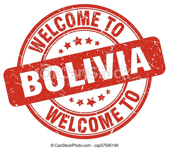 welcome to Bolivia red round vintage stamp - csp37595149