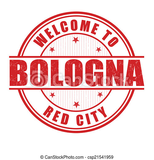 Welcome to Bologna stamp - csp21541959