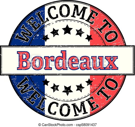 welcome to Bordeaux round stamp - csp58091437
