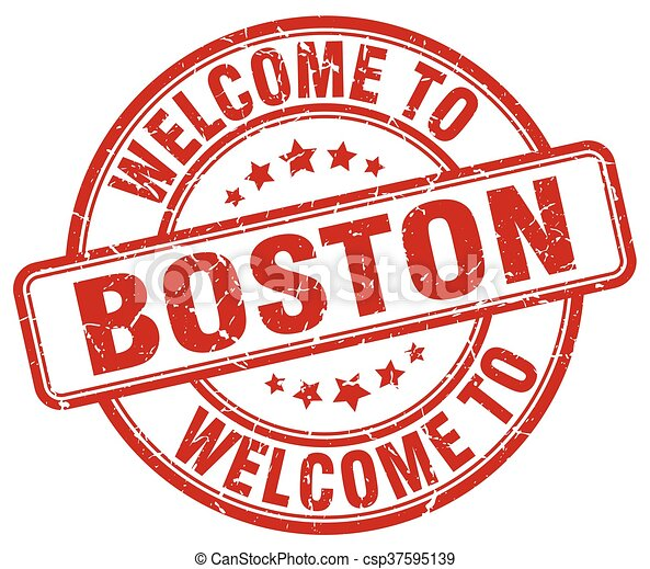 welcome to Boston red round vintage stamp - csp37595139