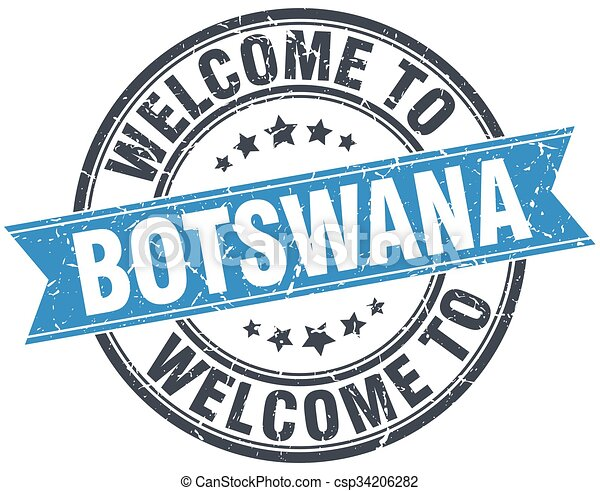 welcome to Botswana blue round vintage stamp - csp34206282