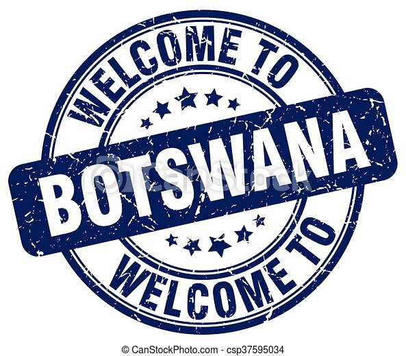 welcome to Botswana blue round vintage stamp - csp37595034