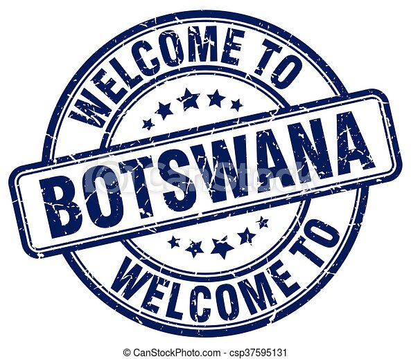 welcome to Botswana blue round vintage stamp - csp37595131