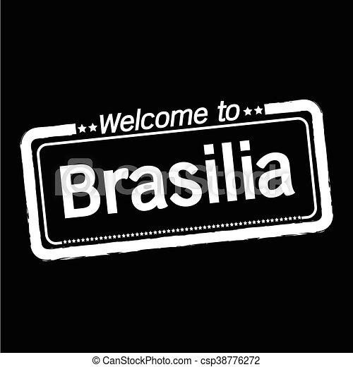 Welcome to Brasilia city illustration design - csp38776272