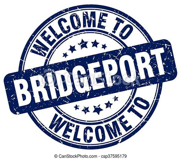 welcome to Bridgeport blue round vintage stamp - csp37595179