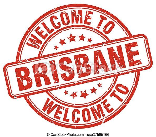 welcome to Brisbane red round vintage stamp - csp37595166