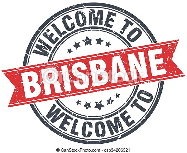 welcome to Brisbane red round vintage stamp - csp34206321