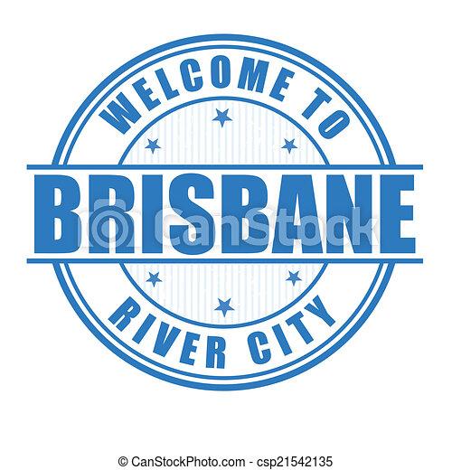 Welcome to Brisbane stamp - csp21542135