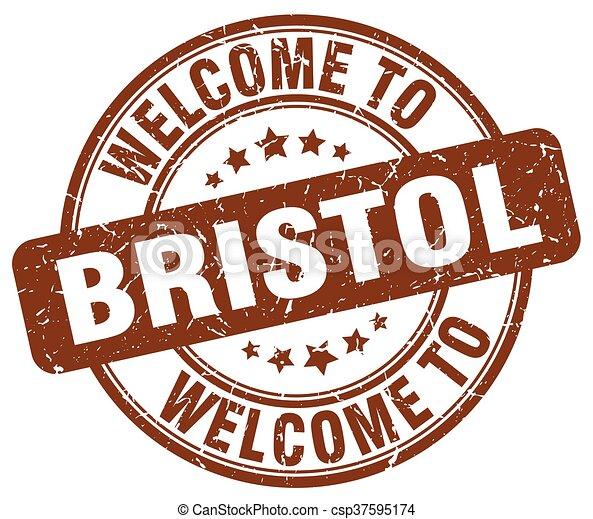 welcome to Bristol brown round vintage stamp - csp37595174