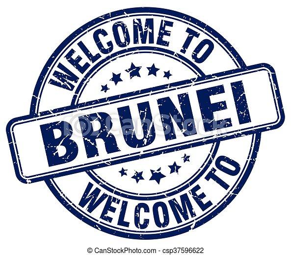 welcome to Brunei blue round vintage stamp - csp37596622