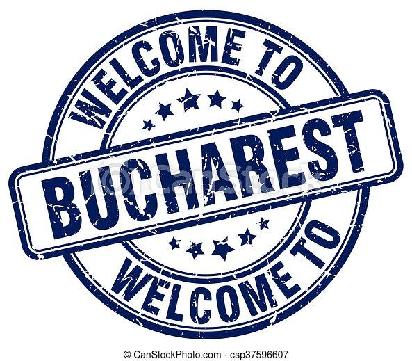 welcome to Bucharest blue round vintage stamp - csp37596607