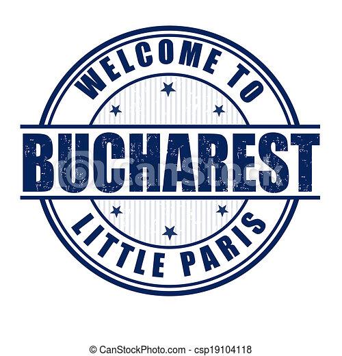 Welcome to Bucharest stamp - csp19104118
