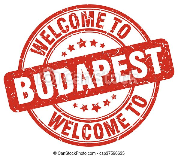 welcome to Budapest red round vintage stamp - csp37596635