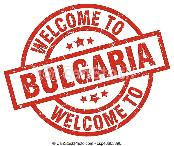 welcome to Bulgaria red stamp - csp48605390