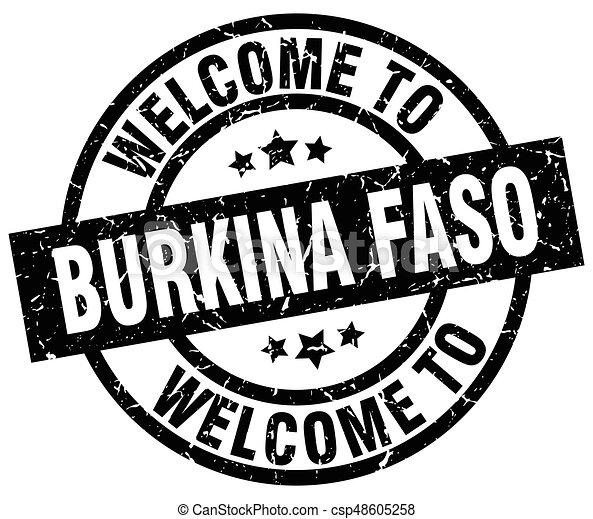 welcome to Burkina Faso black stamp - csp48605258