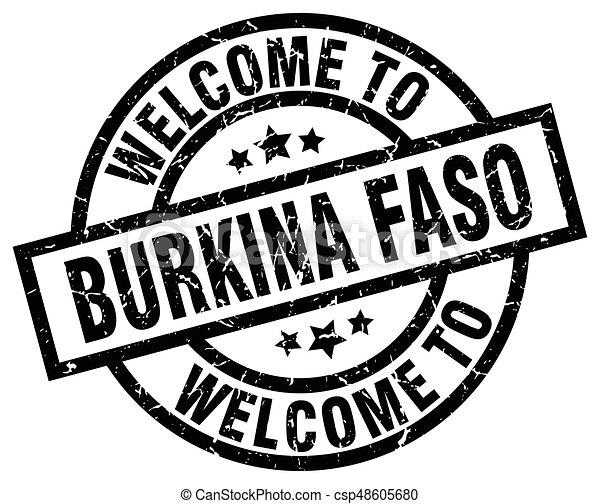welcome to Burkina Faso black stamp - csp48605680