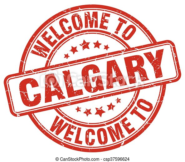 welcome to Calgary red round vintage stamp - csp37596624
