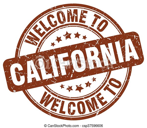 welcome to California brown round vintage stamp - csp37596606