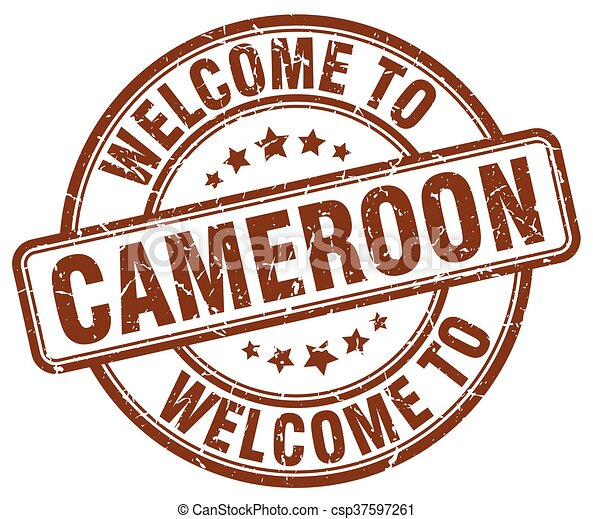 welcome to Cameroon brown round vintage stamp - csp37597261