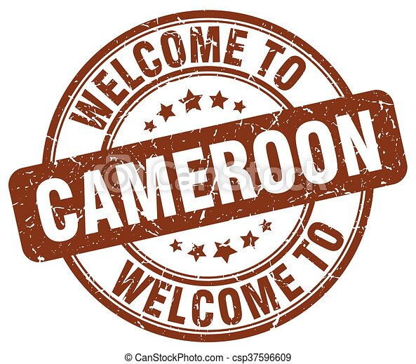 welcome to Cameroon brown round vintage stamp - csp37596609