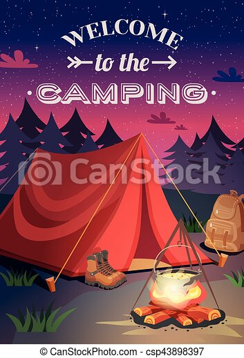 Welcome To Camping Poster - csp43898397