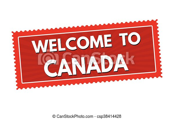 Welcome to canada travel sticker or stamp csp38414428
