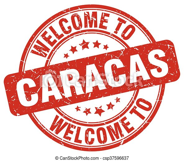 welcome to Caracas red round vintage stamp - csp37596637