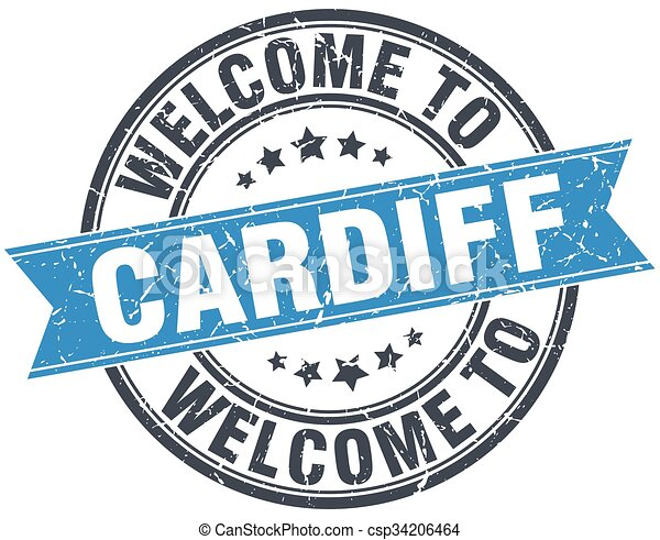 welcome to Cardiff blue round vintage stamp - csp34206464