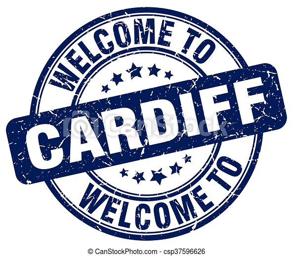 welcome to Cardiff blue round vintage stamp - csp37596626