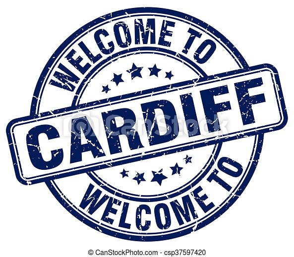 welcome to Cardiff blue round vintage stamp - csp37597420