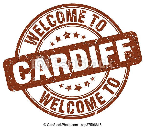 welcome to Cardiff brown round vintage stamp - csp37596615