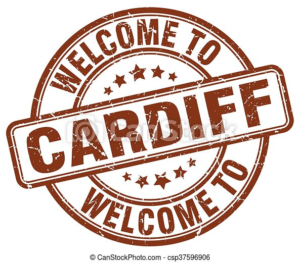 welcome to Cardiff brown round vintage stamp - csp37596906