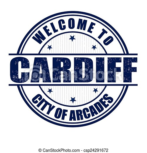 Welcome to Cardiff stamp - csp24291672