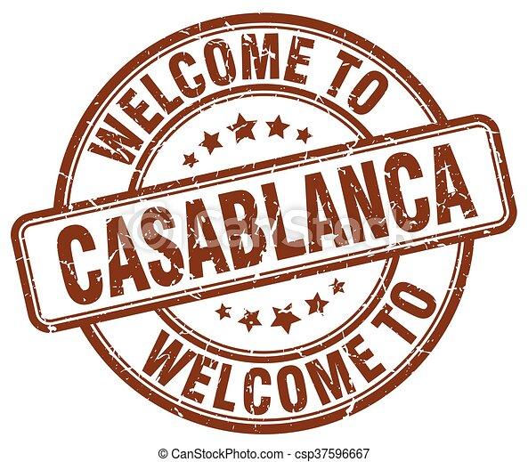 welcome to Casablanca brown round vintage stamp - csp37596667