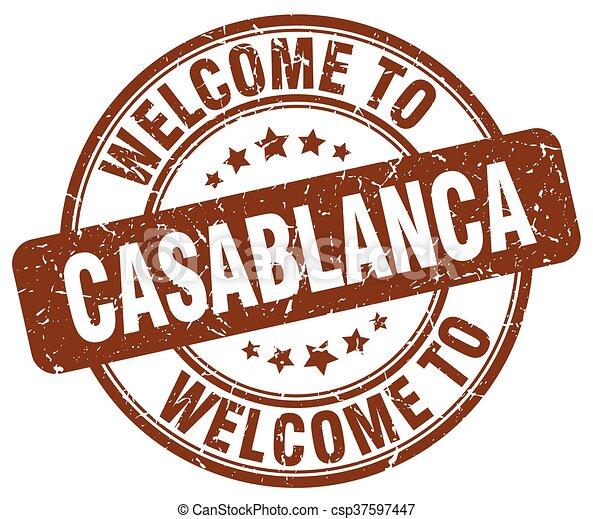 welcome to Casablanca brown round vintage stamp - csp37597447