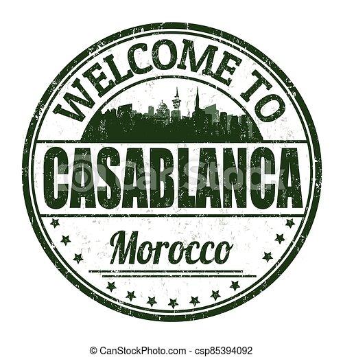 Welcome to Casablanca grunge rubber stamp - csp85394092
