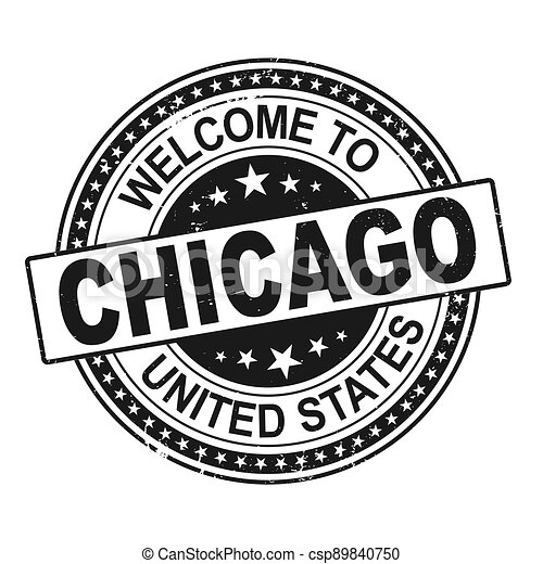 welcome to Chicago black round ribbon stamp - csp89840750