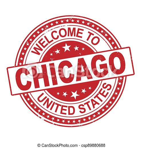welcome to Chicago red round ribbon stamp - csp89880688