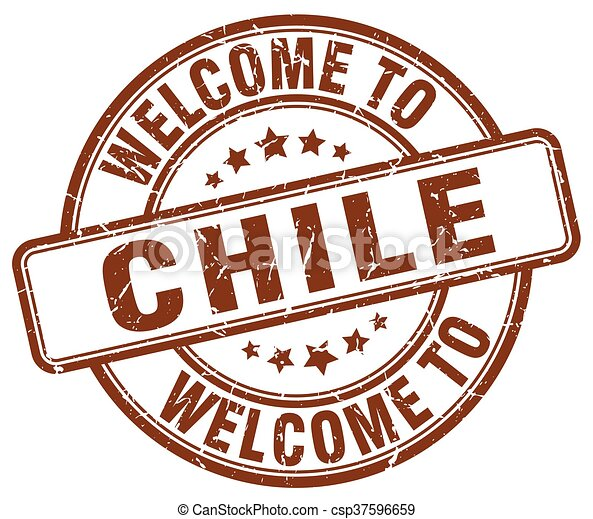 welcome to Chile brown round vintage stamp - csp37596659