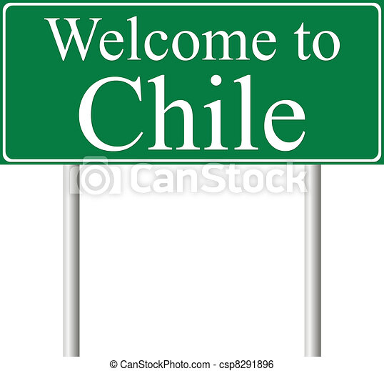 Welcome to Chile, concept road sign - csp8291896