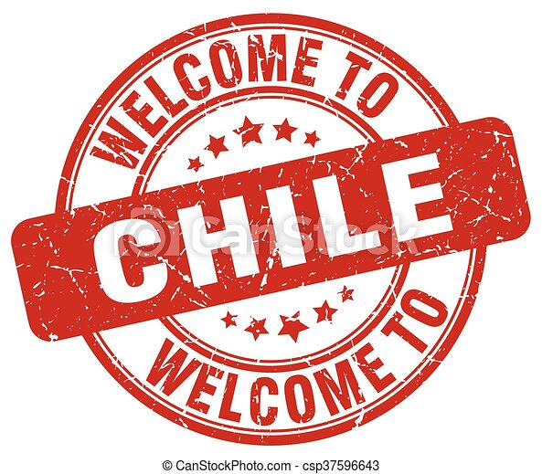 welcome to Chile red round vintage stamp - csp37596643