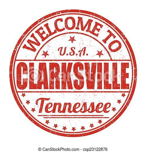 Welcome to Clarksville stamp - csp23122876