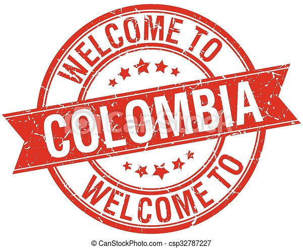 welcome to Colombia red round ribbon stamp - csp32787227