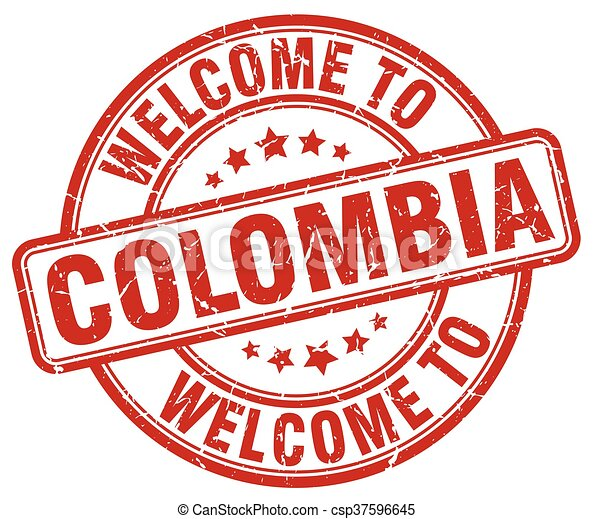 welcome to Colombia red round vintage stamp - csp37596645