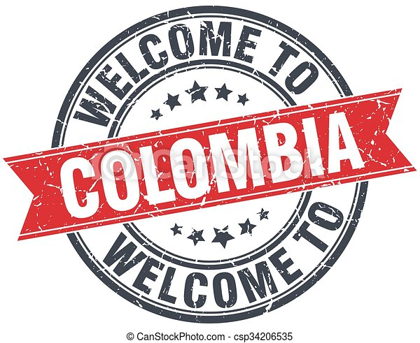 welcome to Colombia red round vintage stamp - csp34206535