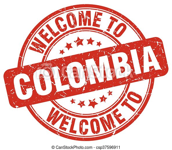 welcome to Colombia red round vintage stamp - csp37596911