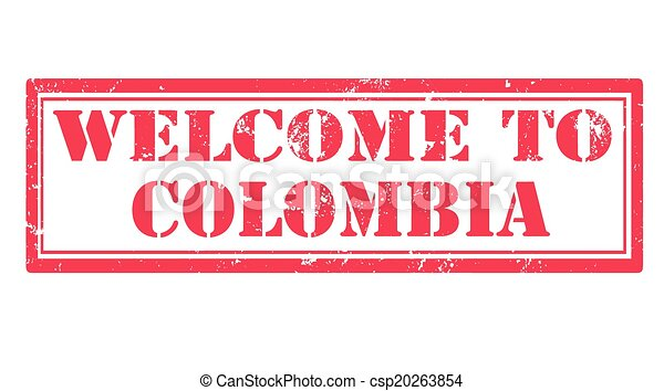 welcome to colombia stamp - csp20263854