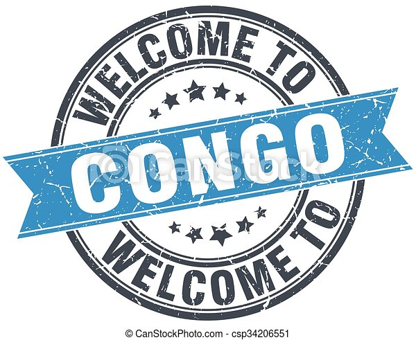 welcome to Congo blue round vintage stamp - csp34206551
